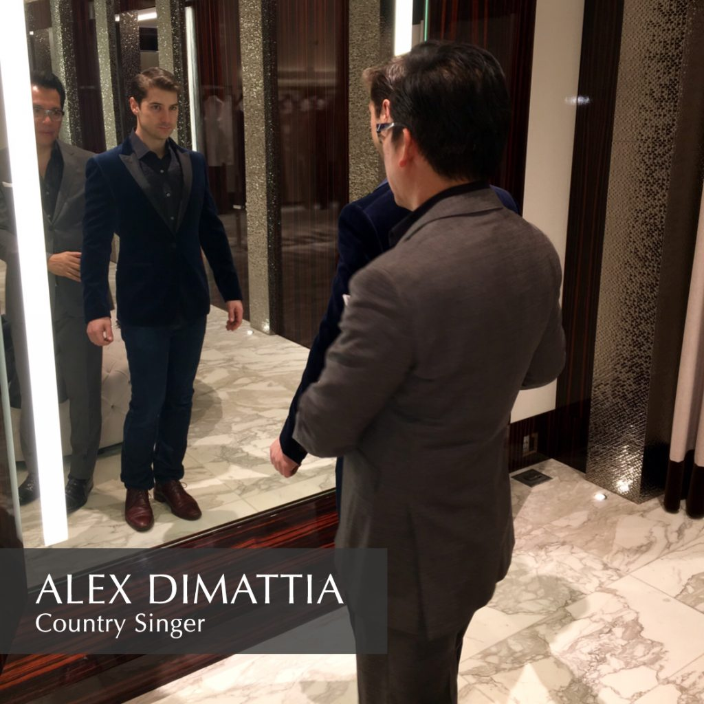 Prepping Alex Dimattia for an event.